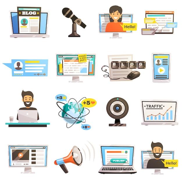 Blogosphere communicatie icon set Gratis Vector