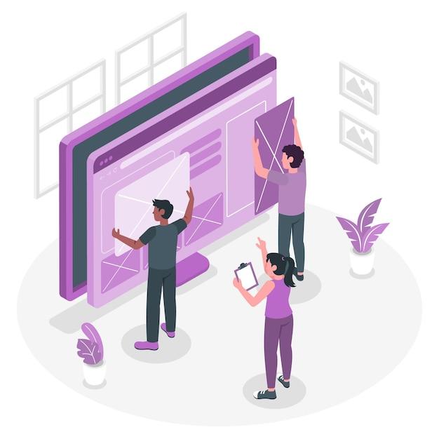 Blok concept illustratie invoegen Gratis Vector