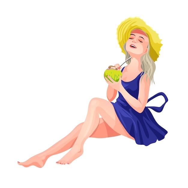 Blond meisje, zittend in een hoed en een blauwe jurk met een mojito in haar handen. meisje drinkt een drankje van kokos met een rietje. geïsoleerde illustratie in cartoon-stijl. Premium Vector