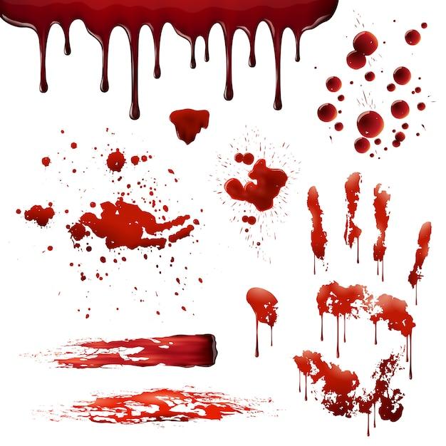 Blood spatters realistische bloodstain-patronen set Gratis Vector