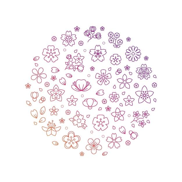 Blossom bloemen dunne lijn pictogrammen samenstelling Premium Vector