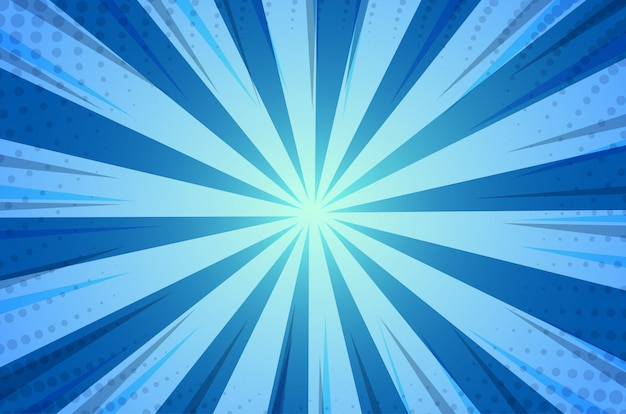 Blue abstract comic cartoon zonlicht achtergrond Premium Vector