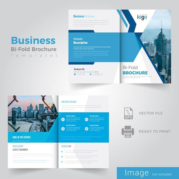 Blue bifold brochure design Premium Vector