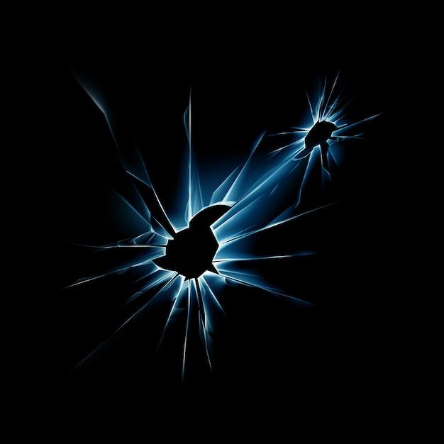 Blue broken glass window met scherpe randen Premium Vector