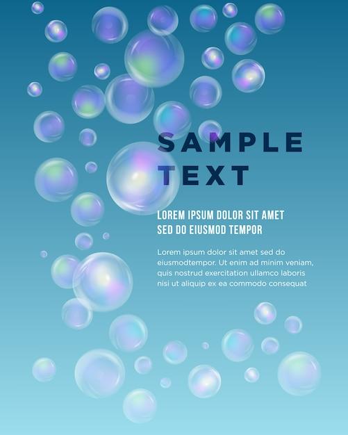 Blue bubble theme met plaats voor uw tekst. abstracte samenstelling. blauwe oceaan water textuur. zeepbellen. creatief mariene figuur icoon. cirkelkralen oppervlak. zee banner vorm. sphere flyer lettertype. Premium Vector
