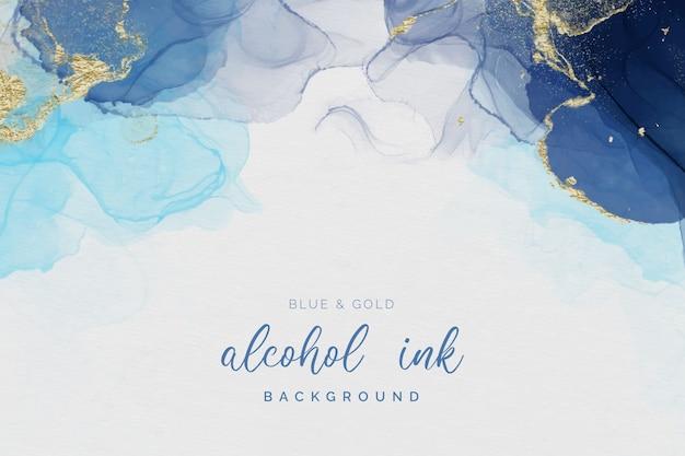 Blue & gold alcohol inkt achtergrond Gratis Vector
