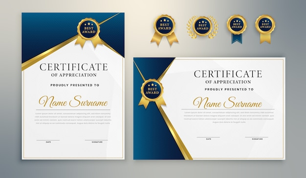 Blue gold elegant award certificaatsjabloon Premium Vector
