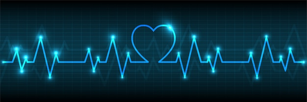 Blue heart-impulmonitor met signaalachtergrond Premium Vector