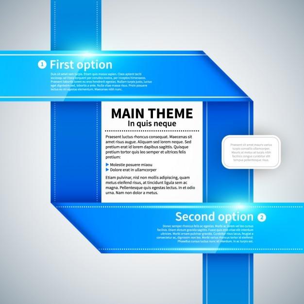 Blue infographic ribbon Gratis Vector