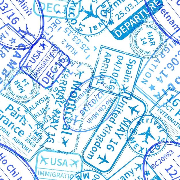 Blue international reizen visum stempels stempels op wit, naadloos patroon Premium Vector
