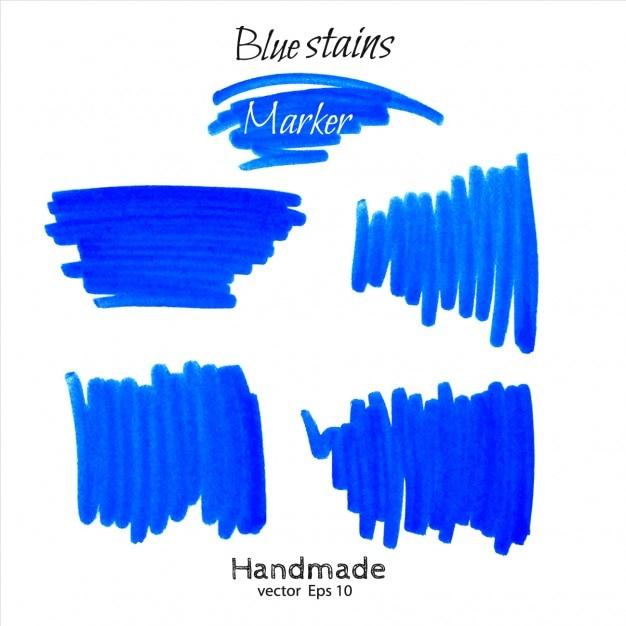 Blue marker scribble collection Gratis Vector
