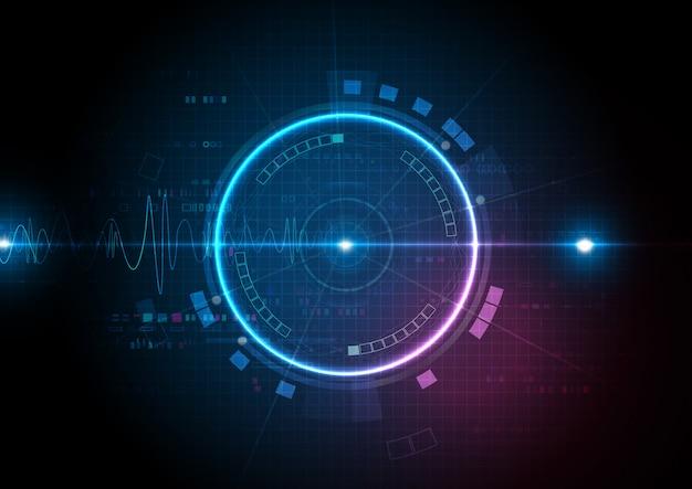 Blue pink digital technology met geluidsgolf Premium Vector