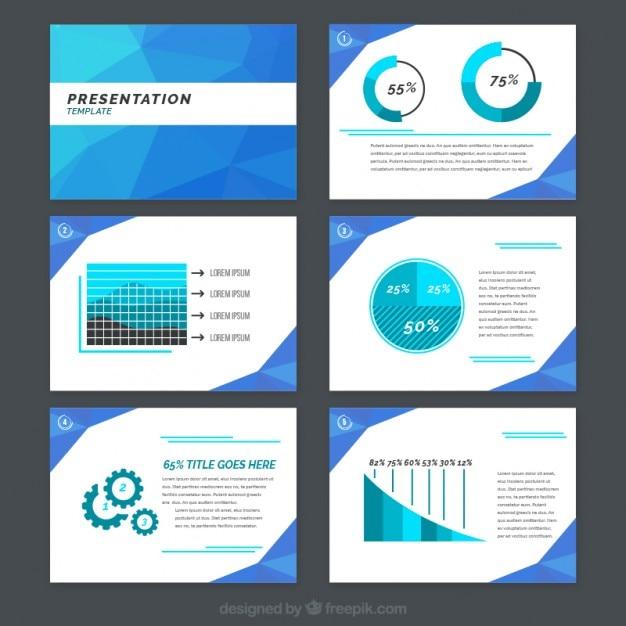 Blue poligonal bedrijfspresentatie met grafieken Gratis Vector