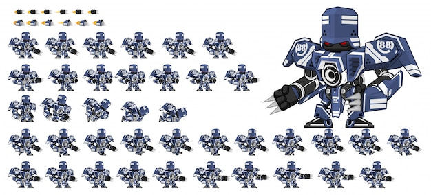 Blue robot game sprite Premium Vector
