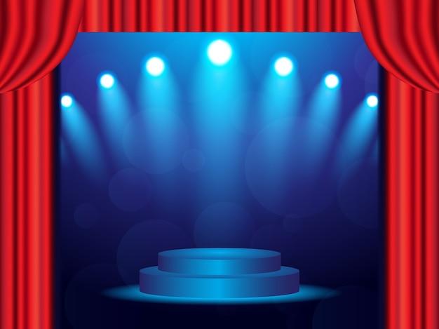 Blue stage achtergrond met gesloten gordijnen en schijnwerpers Premium Vector