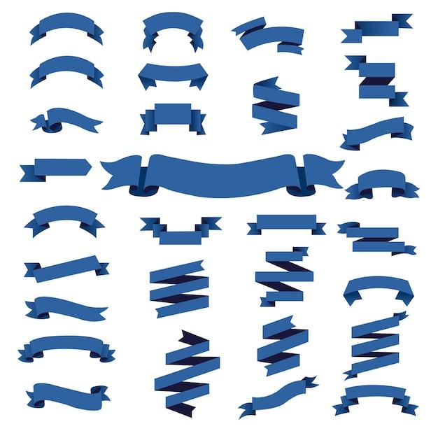 Blue web ribbon big set Premium Vector
