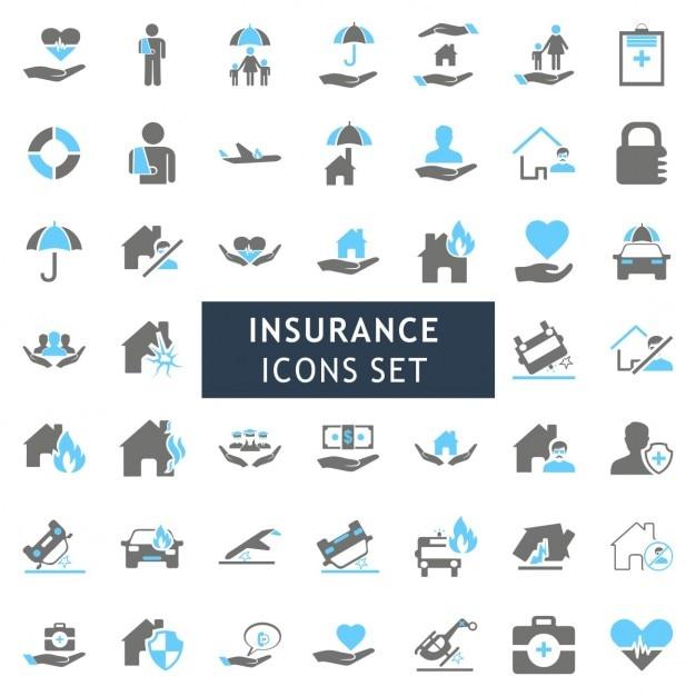 Blur en gray kleurrijke insurance icon set Gratis Vector