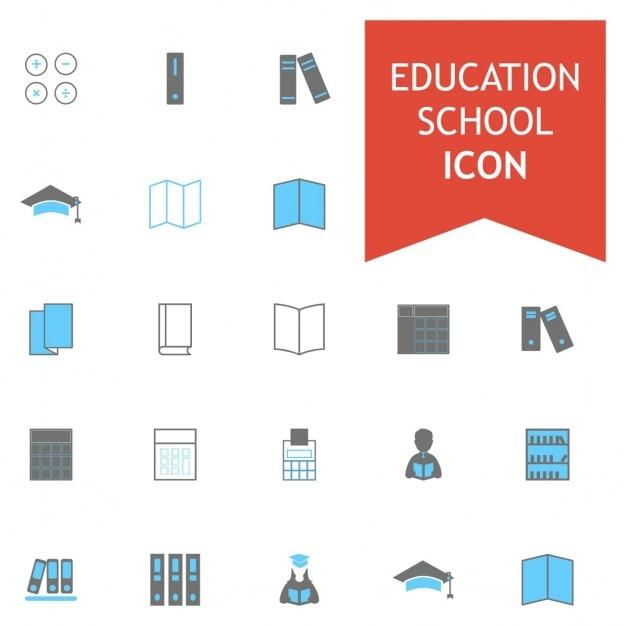 Blur en gray kleurrijke school education icon set Gratis Vector