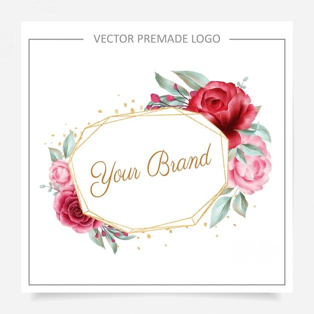 Blush en bordeaux geometrische bloemen logo premade voor bruiloft of branding Premium Vector