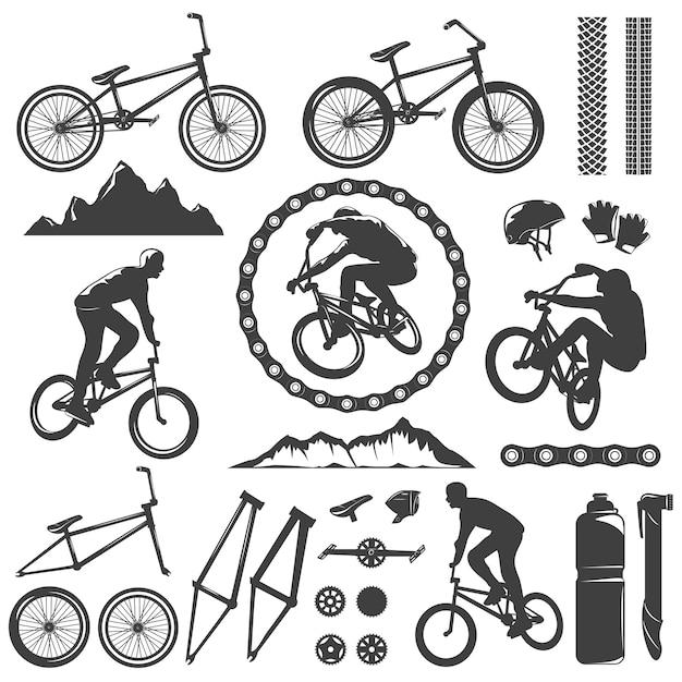 Bmx decoratieve grafische pictogrammen instellen Gratis Vector