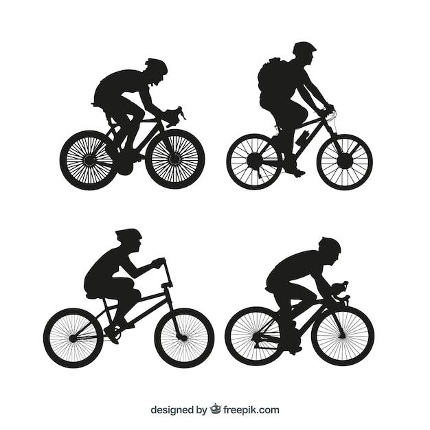 Bmx fiets silhouetten vector set Premium Vector