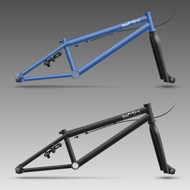 Bmx fietsbuisframes met voorvork, kabel, achterrem en asmoeren Premium Vector