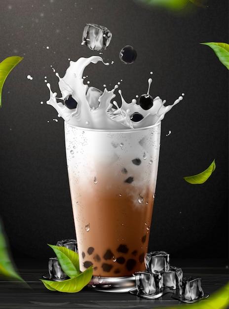 Boba-thee-element met opspattende melk in glazen beker op zwarte achtergrond, 3d illustratie Premium Vector