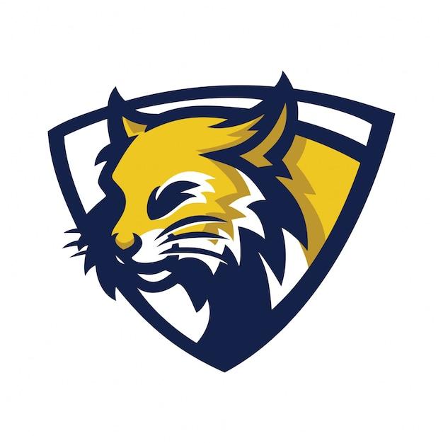 Bobcat sport gaming mascotte logo sjabloon Premium Vector