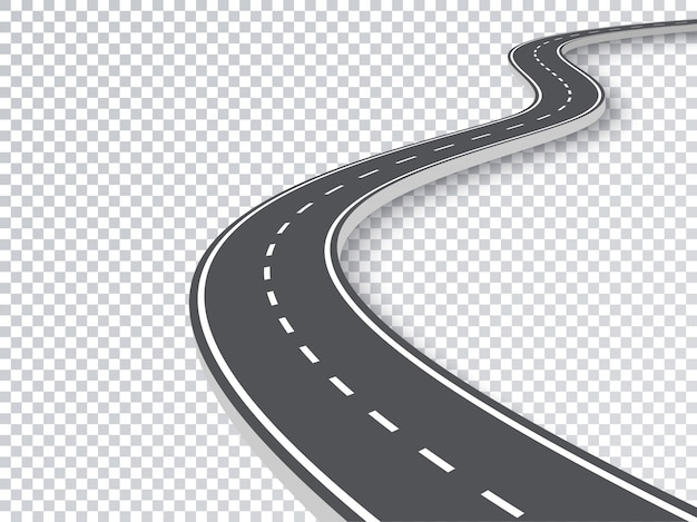 Bochtige weg geïsoleerd transparant speciaal effect. Premium Vector