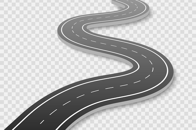 Bochtige weg op transparant Premium Vector