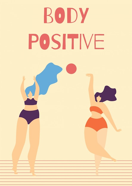 Body positive motivate woman cartoon-kaart met tekst Gratis Vector