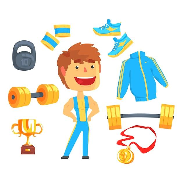 Bodybuilder, gespierde man ingesteld voor. sportartikelen voor bodybuilding. kleurrijke cartoon gedetailleerde illustraties Premium Vector