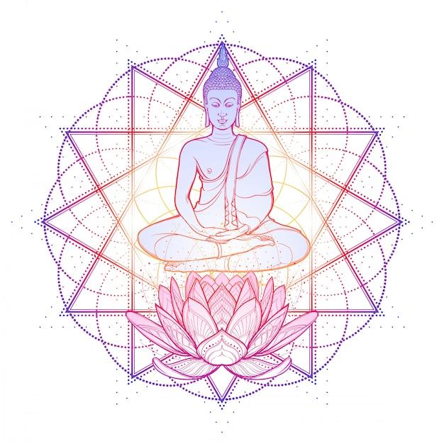 Boeddha mediteren in de enkele lotushouding. hexagram dat anahata chakra in yoga op een achtergrond vertegenwoordigt. Premium Vector