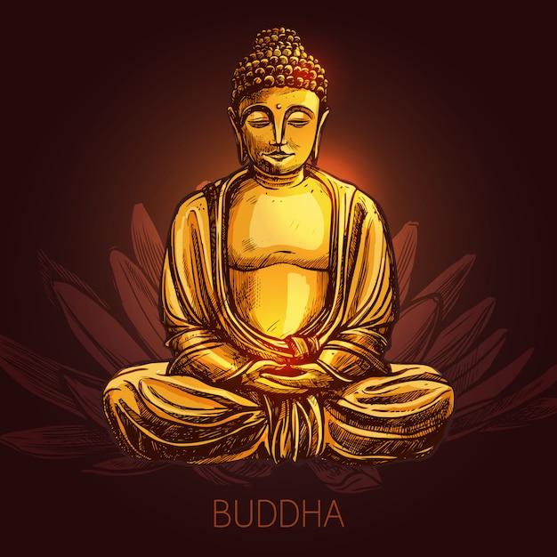 Boeddha op lotusbloem illustratie Gratis Vector
