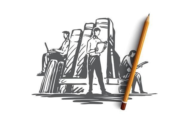 Boek, bibliotheek, onderwijs, literatuur, kennisconcept. hand getrokken mensen lezen van boeken in bibliotheek concept schets. illustratie. Premium Vector