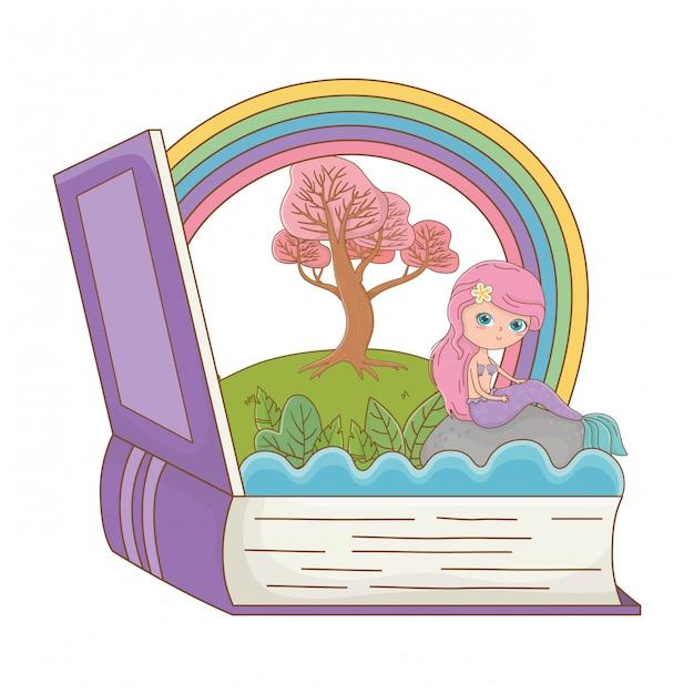Boek en karakter van fairytale ontwerp vectorillustratie Premium Vector