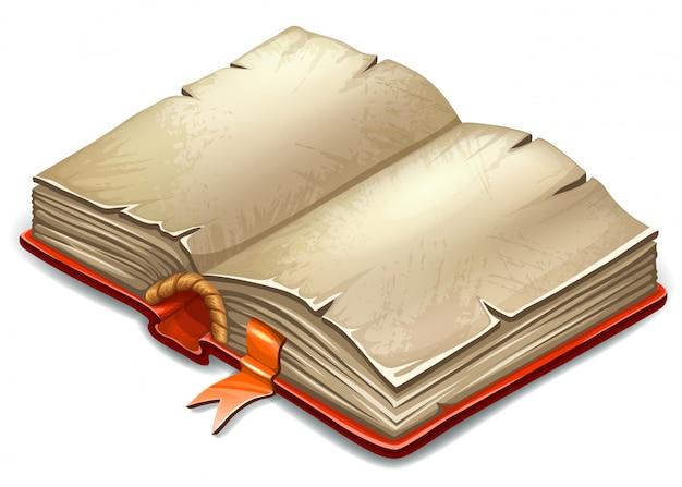 Boek in cartoon-stijl met oude vellen rijstpapier. Premium Vector