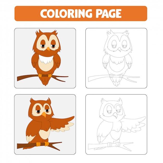 Boek kleurplaten. uil cartoon afbeelding Premium Vector