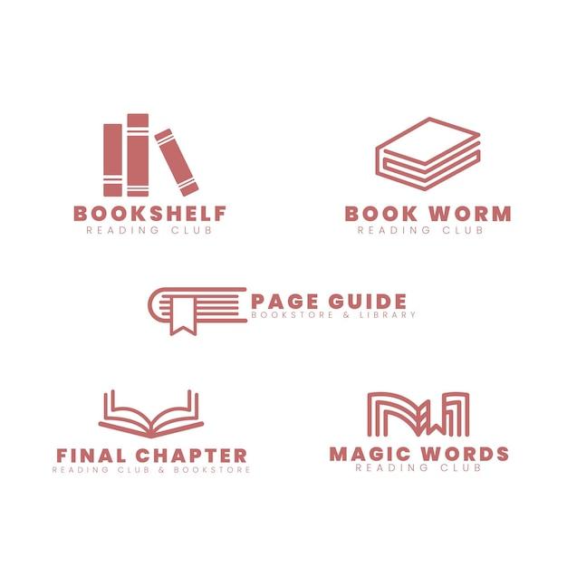 Boek logo collectie plat ontwerp Gratis Vector