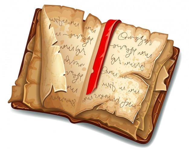 Boek met magische spreuken en hekserij Gratis Vector
