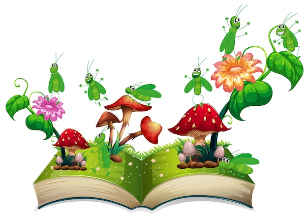 Boek met sprinkhaan en paddestoel Gratis Vector
