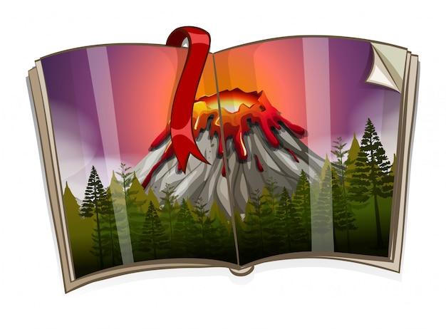 Boek met vulkaanscène Gratis Vector