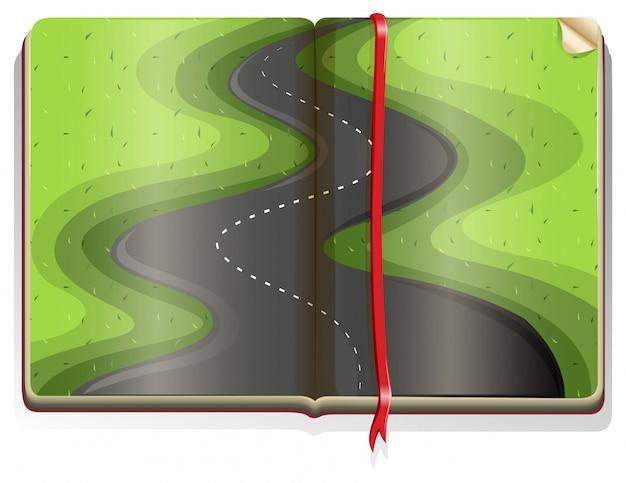Boek met wegscène Gratis Vector