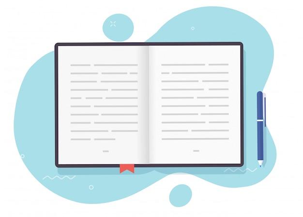 Boek open pagina's met tekst of leerboek papieren notitieblok met bladwijzer Premium Vector