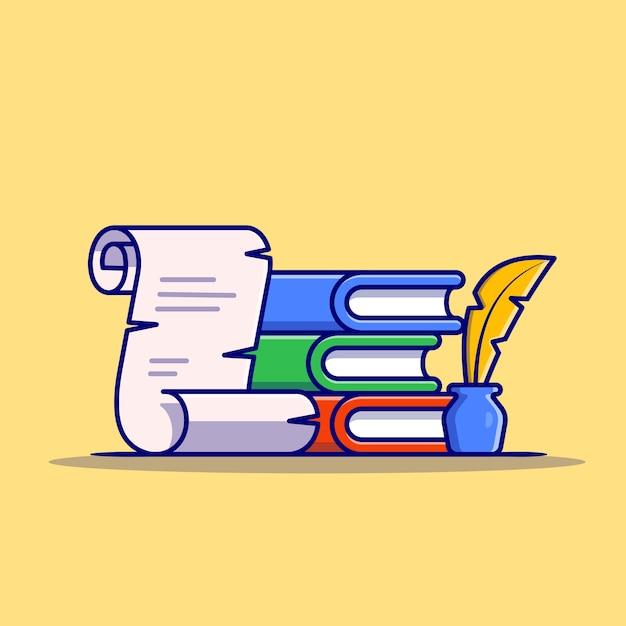 Boek, papier met veer pen en inkt cartoon pictogram illustratie. onderwijs object icon concept geïsoleerd. platte cartoon stijl Gratis Vector