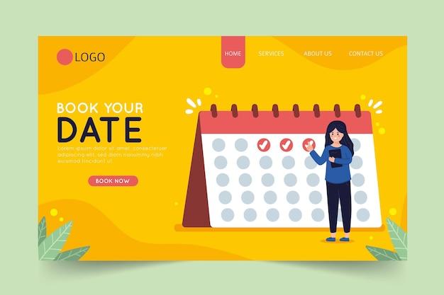 Boek uw datum op de bestemmingspagina van de kalender Gratis Vector