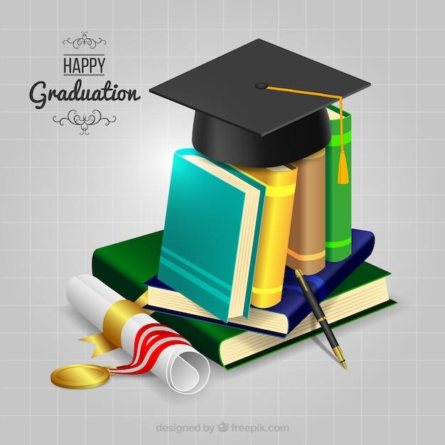 Boeken achtergrond met diploma en biretta Gratis Vector