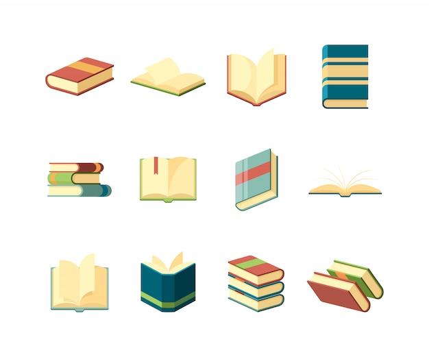 Boeken . bibliotheek symbolen leren studeren informatie handboek omvat tijdschriften collectie Premium Vector