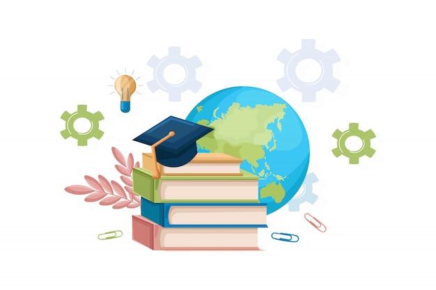 Boeken en afstuderen hoed vlakke stijl Premium Vector