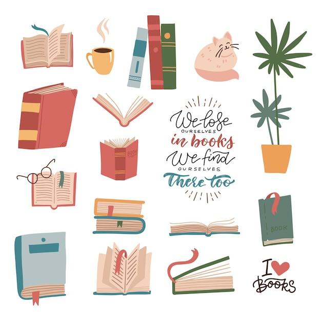 Boeken en leeselementen instellen. stapel boeken, schoolboeken, schattige kat, kamerplant, beker. bundel van decoratief ontwerp met belettering citaten geïsoleerd op een witte achtergrond. platte cartoon vectorillustratie. Premium Vector
